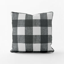 Carolina Linens Decorative Pillows in Anderson Black Buffalo Check Plaid
