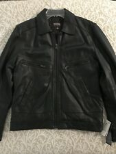 MICHAEL KORS Mens M HIPSTER LEATHER JACKET COAT $575 New W/ Tags Black MM56804