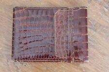Vintage Brown Alligator Leather Wallet Bi Fold Crocodile Folding Flap Large