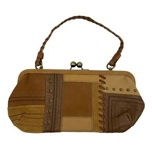 Fossil Mini Clutch w/ Handle Brown Leather Patchwork Bag Purse Multi Pocket *