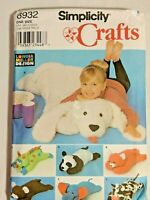 "Simplicity Craft 8932 Pattern 40"" ANIMAL PILLOW plush bear RUG Longia Miller OOP"