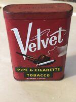 Vintage Velvet Pipe Ciarette Tobacco Tin