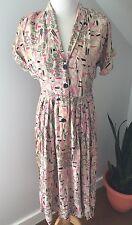 Vintage 1940s Atomic Rayon Dress Rockabilly Pink And Black