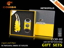 Original Cohiba cigar lighter and cutter set Classic yellow Travel gift set