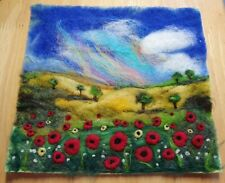 Handmade Wet and Needle Felted Colourful Flower and Poppy Landscape Picture
