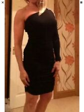Warehouse One Shoulder Long Sleeve Ruched Bodycon Dress Size 10. 🎉🎉PARTY🎉