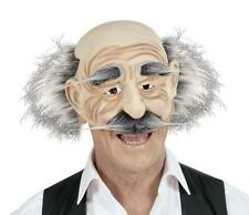 Old Man Face Geppetto Pinocchio Mask With Hair, Eyebrows & Moustache Fancy Dress