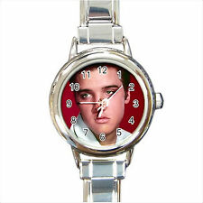 NEW*HOT ELVIS PRESLEY Round Italian Charm Wrist Watch Gift D03