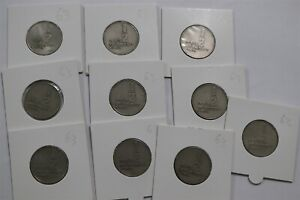 ISRAEL 1/2 LIRAH 1963 - 10 COINS WITH VAR. B34 CG46-9