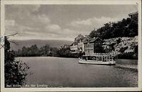 Bad Kösen alte DDR Ansichtskarte 1957 Flußpartie an der Loreley Boot Personen