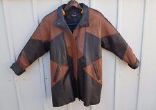 XS mens brown and black leather jacket vintage lined front slash pockets Pelle