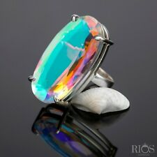 Chunky 925 Sterling Silver Mercury Mystic Topaz Facet Cut Bling Gemstone Gift
