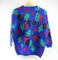 Vintage Blue And Multi-color Space Benetton Logo Sweater 1980's Wool Blend