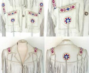 NEW-Women Western Cowhide Leather Wear Coat Ladies Jacket Fringe With Tassels