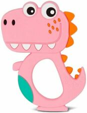 Zoo Beast Baby - Pink Smiling T-Rex - BPA Free Silicone Infant Teether