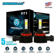 IRONWALLS H11 H9 H8 LED Headlight Bulb Kit Low Beam Fog Light 2200W 6000K White