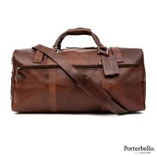 Porterbello Brown Leather Holdall Duffle Weekend Cabin Bag