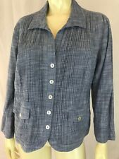 Chicos Blouse 1 Cotton Pintuck Pleat Lightweight Jacket Button Down Pockets