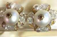 VINTAGE ESTATE FIND GOLD TONE EARRINGS WITH WHITE AND GOLD FAUX PEARL AND CLEAR