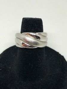 925 Sterling Silver Chunky Wide Textured Dome Ring Size 5.5 Heavy 7g