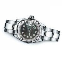 Ladies Rolex 26mm Datejust Black MOP Mother Of Pearl Dial with Diamonds