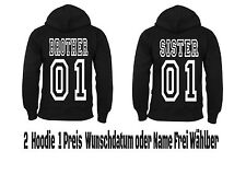 Brother Sister Hoodie Pullover 2 Stück Partner Look Hipster Viele Farben XS -5XL
