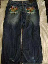 "Rare Vintage Ed Hardy Men's Jeans 44 x 34 ""Alive"" ""Aware"""