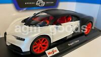 Maisto 1:18 Scale - Bugatti Chiron - Silver/Black - Diecast Toy Model Car