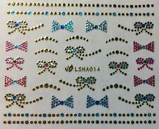 Nail Art 3D Glitter Decal Stickers Sparkle Metallic Bows w/ Rhinestones LSHA014