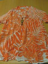 Damen Bluse, Tunika, orange weiß, Größe 36 von Heine