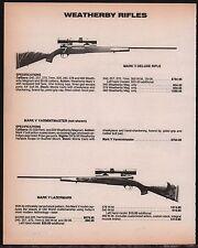 1986 WEATHERBY Mark V Deluxe, Varmintmaster & Lazermark Rifle AD