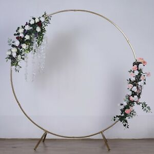 7.5 ft Gold Round Metal Wreath Arch Backdrop Stand Wedding Party Decorations