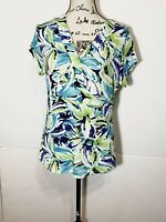 Chicos Travelers Floral Blouse Size 1 Green & Blue