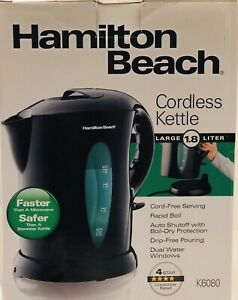 Hamilton Beach K6080 Large Cordless Kettle, 1.8Liter, Black M39B