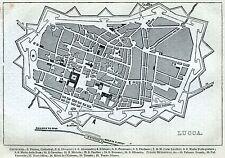 Pianta di Lucca. Carta Topografica,Geografica. Stampa Antica + Passepartout.1861
