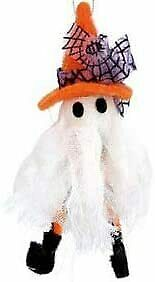Gisela Graham Wool and Fabric Ghost Hanging Halloween Decoration - Fabric Ghost