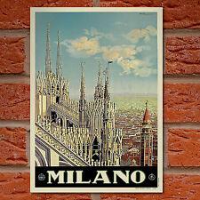 Vintage de Milán, Italia viajar Cartel-A4-Gran Calidad