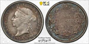 1892 Canada 25 Cents PCGS XF45 Lot#G932 Silver! Better Date!