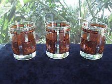 Vintage Georges Briard Glass Tumblers Barware Brown Marble Look (3)