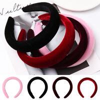 Women's Velvet Headband Padded Hairband Wide Hair Hoop Accessories Headpi lc
