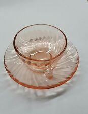 Vintage Arcoroc France Pink Swirl Rosaline Teacups & Saucers Depression Glass