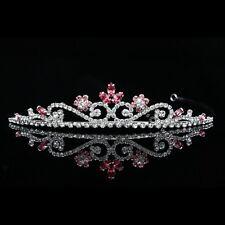 Bridal Flower Pink Rhinestones Crystal Prom Wedding Crown Tiara 8805