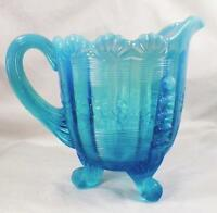 Fluted Scrolls Creamer Blue Opalescent Glass Northwood Early American Pattern
