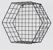 ONE 33CM Hexagonal Wall Shelves Grid Metal Storage Display Shelf Cube Black  NEW