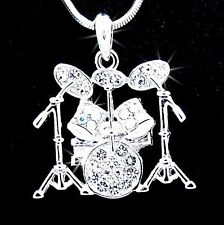 New Drum Set Silver Tone Austrian Crystal Pendant Chain Necklace Music Sv8