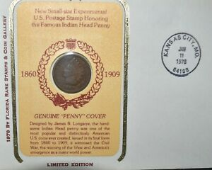 1978 USA INDIAN HEAD PENNY FIRST DAY OF ISSUE COMMEMORATIVE SET COIN AND STAMP