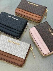 MICHAEL KORS Jet Set Medium Zip Around Card Case Wallet Black Brown Vanilla