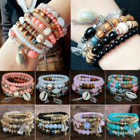 Boho Women Bangle Beaded Stone Natural Multilayer Jewelry 4Pcs Crystal Bracelet