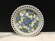 """Vintage 7 1/4"""" Round White Porcelain Plate w/ Blue Green Flowers Italy  (R63)"""