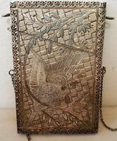 ANTIQUE VICTORIAN / ART NOUVEAU SILVER ENGRAVED BUSINESS / GREETING CARD HOLDER